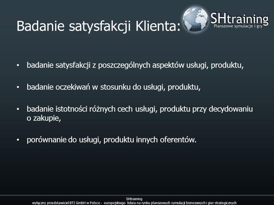 Badanie satysfakcji Klienta: badanie satysfakcji z poszczególnych aspektów usługi, produktu, badanie oczekiwań w stosunku do usługi, produktu, badanie