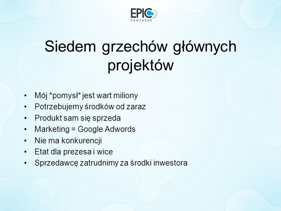 Siedem grzechów głównych projektów Mój *pomysł* jest wart miliony Potrzebujemy środków od zaraz Produkt sam się sprzeda Marketing = Google Adwords Nie