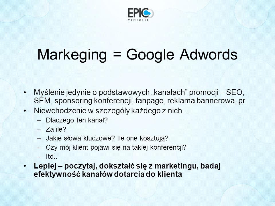 Markeging = Google Adwords Myślenie jedynie o podstawowych kanałach promocji – SEO, SEM, sponsoring konferencji, fanpage, reklama bannerowa, pr Niewch