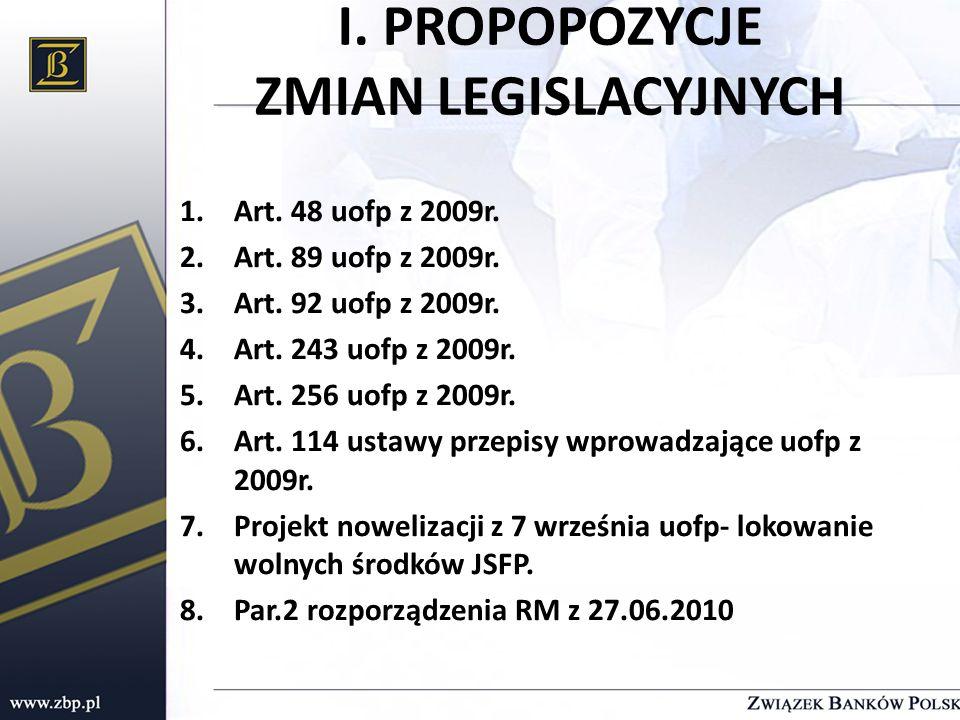 I. PROPOPOZYCJE ZMIAN LEGISLACYJNYCH 1.Art. 48 uofp z 2009r. 2.Art. 89 uofp z 2009r. 3.Art. 92 uofp z 2009r. 4.Art. 243 uofp z 2009r. 5.Art. 256 uofp