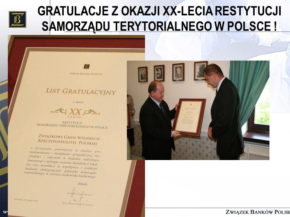 GRATULACJE Z OKAZJI XX-LECIA RESTYTUCJI SAMORZĄDU TERYTORIALNEGO W POLSCE !