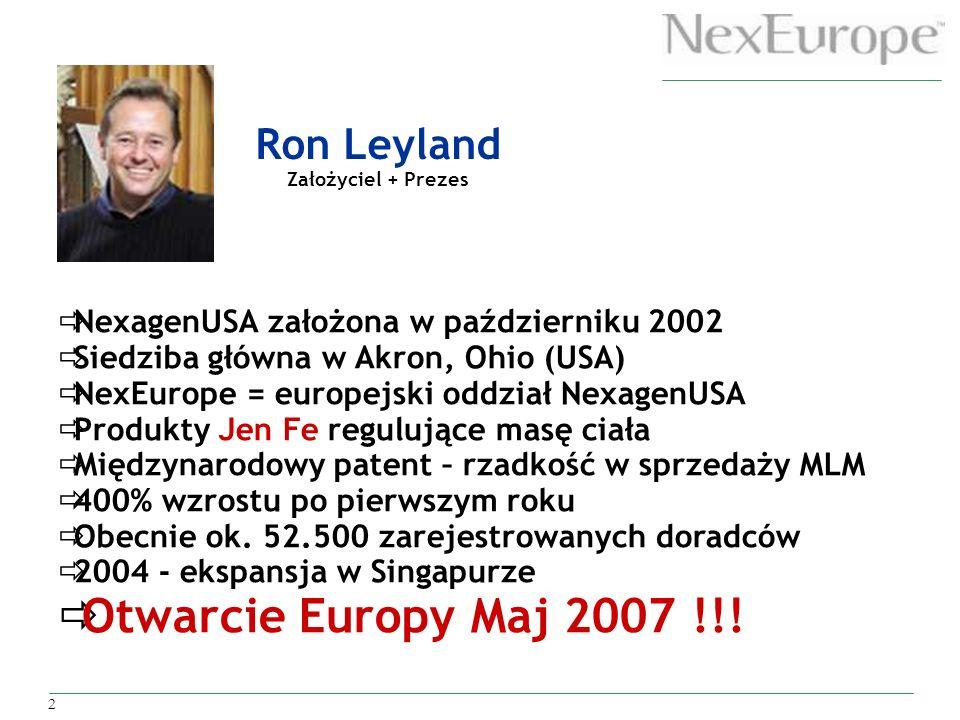 2 NexagenUSA założona w październiku 2002 Siedziba główna w Akron, Ohio (USA) NexEurope = europejski oddział NexagenUSA Produkty Jen Fe regulujące mas