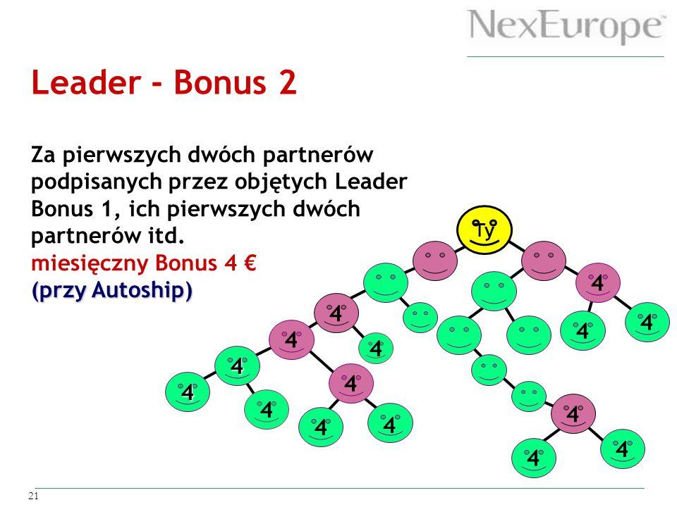 21 Ty 4 4 4 4 4 4 4 4 4 4 4 4 4 4 Leader - Bonus 2 Za pierwszych dwóch partnerów podpisanych przez objętych Leader Bonus 1, ich pierwszych dwóch partn