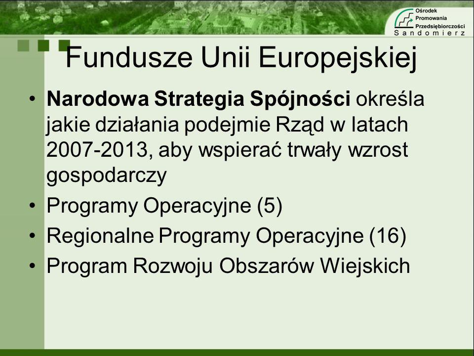 Fundusze Unii Europejskiej Narodowa Strategia Spójności określa jakie działania podejmie Rząd w latach 2007-2013, aby wspierać trwały wzrost gospodarc