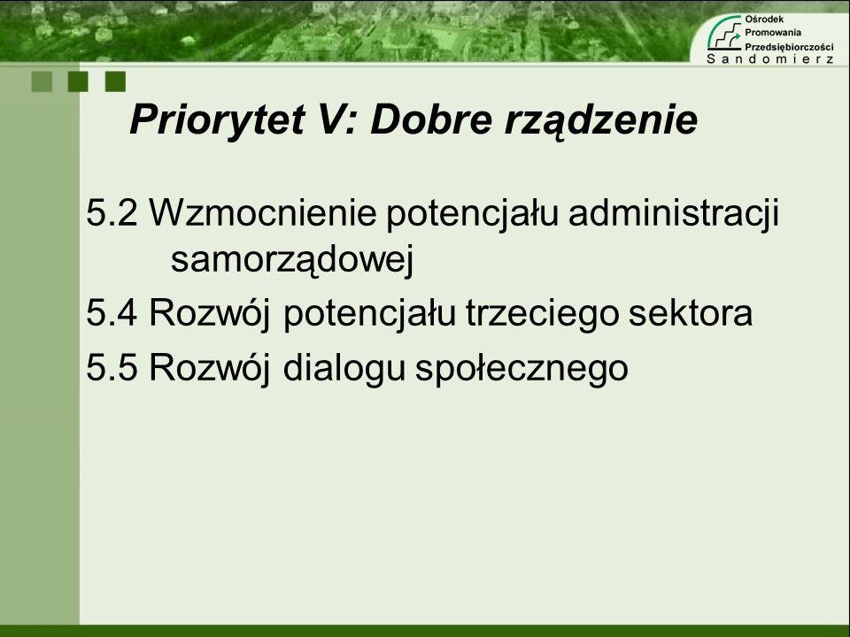 Priorytet V: Dobre rządzenie 5.2 Wzmocnienie potencjału administracji samorządowej 5.4 Rozwój potencjału trzeciego sektora 5.5 Rozwój dialogu społeczn