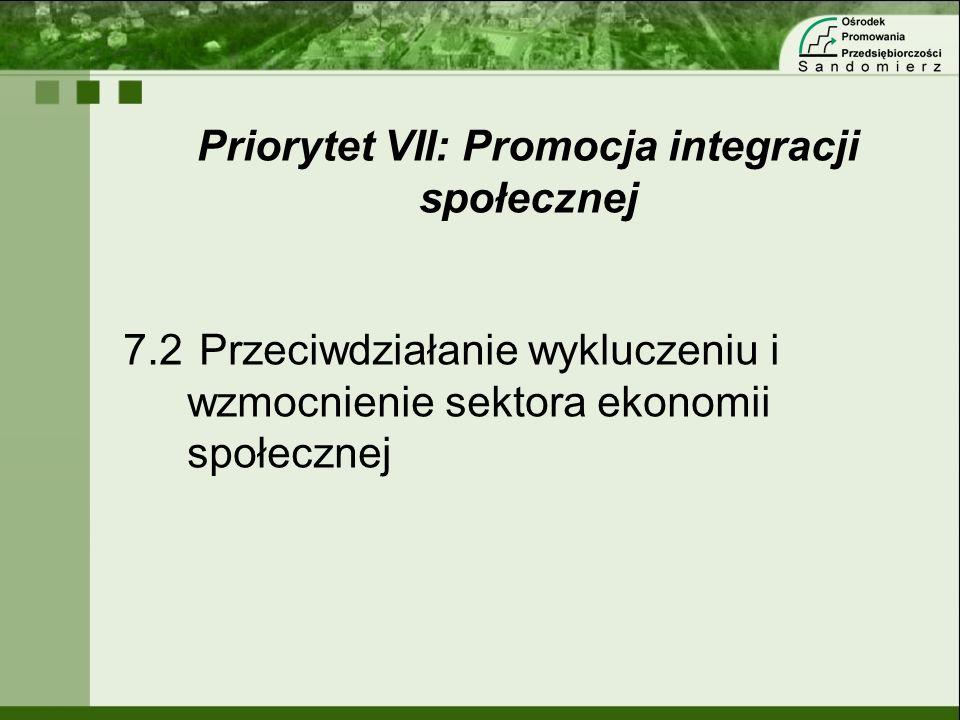 Priorytet VII: Promocja integracji społecznej 7.2 Przeciwdziałanie wykluczeniu i wzmocnienie sektora ekonomii społecznej