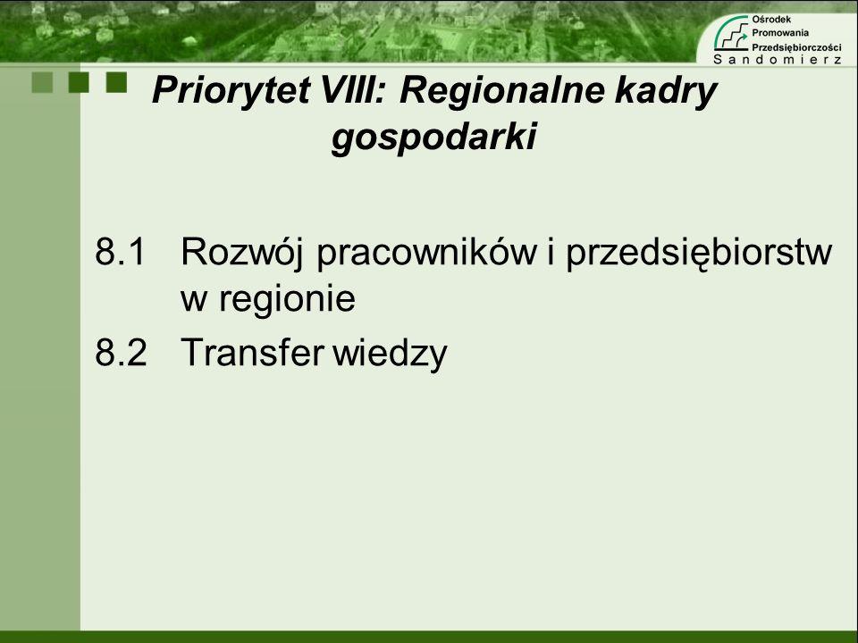 Priorytet VIII: Regionalne kadry gospodarki 8.1Rozwój pracowników i przedsiębiorstw w regionie 8.2Transfer wiedzy