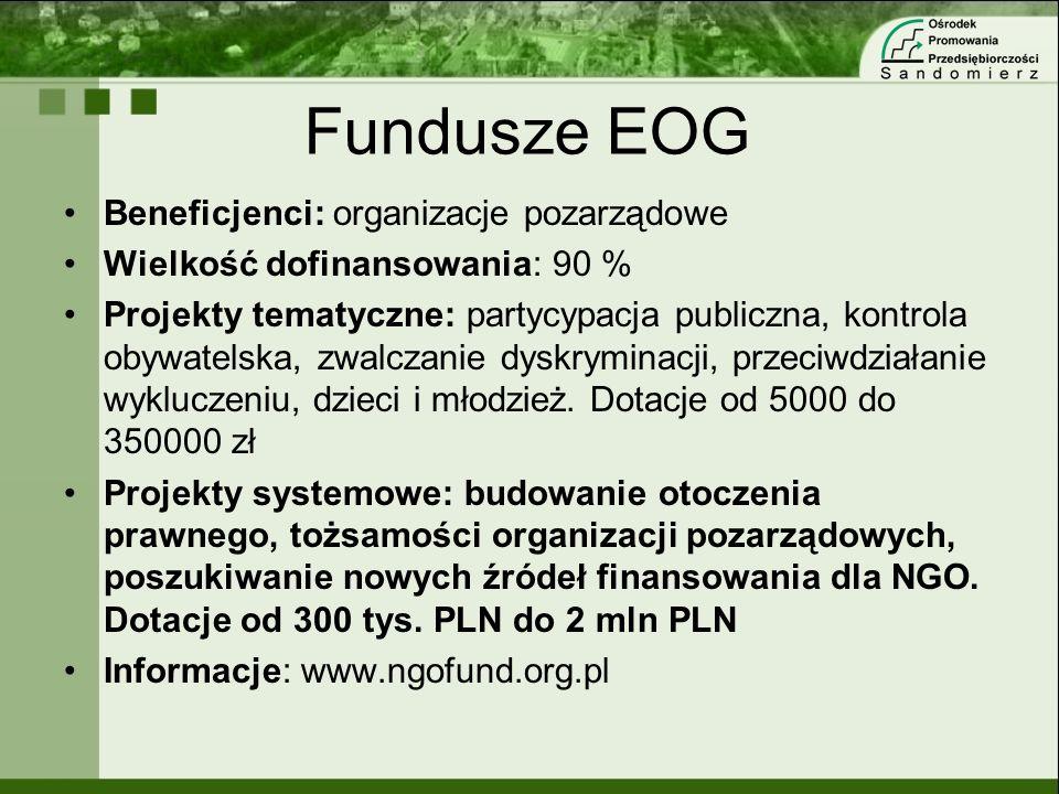 Fundusze EOG Beneficjenci: organizacje pozarządowe Wielkość dofinansowania: 90 % Projekty tematyczne: partycypacja publiczna, kontrola obywatelska, zw