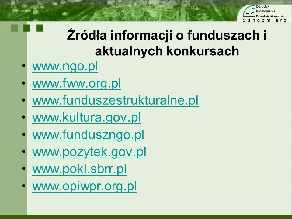 Źródła informacji o funduszach i aktualnych konkursach www.ngo.pl www.fww.org.pl www.funduszestrukturalne.pl www.kultura.gov.pl www.funduszngo.pl www.