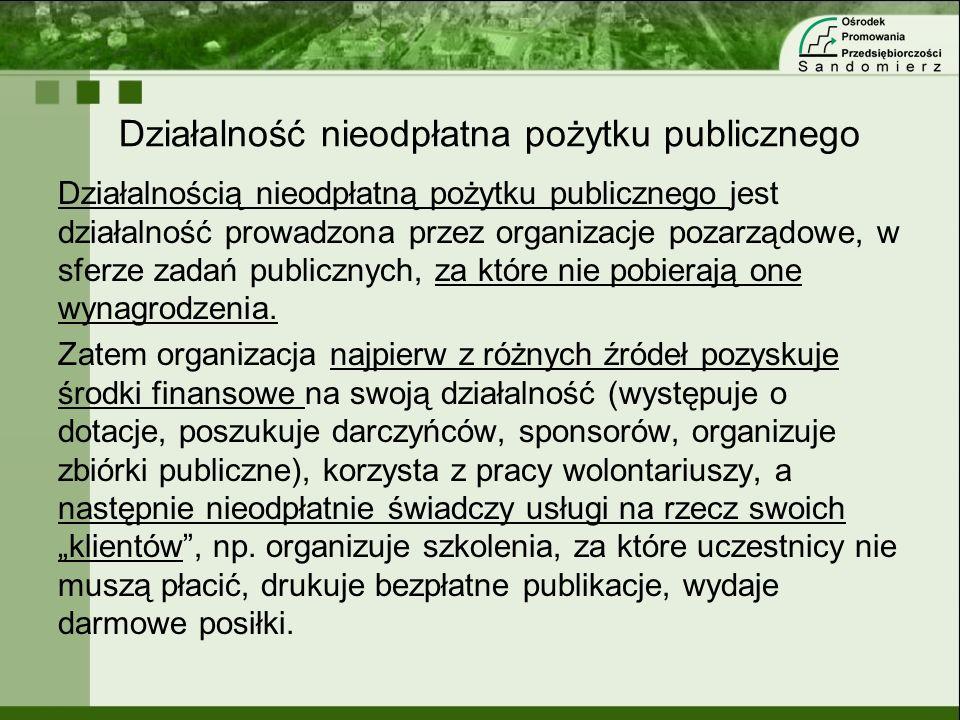 Działalność nieodpłatna pożytku publicznego Działalnością nieodpłatną pożytku publicznego jest działalność prowadzona przez organizacje pozarządowe, w
