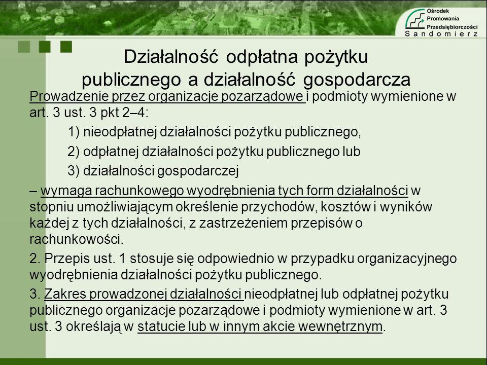 Działalność odpłatna pożytku publicznego a działalność gospodarcza Prowadzenie przez organizacje pozarządowe i podmioty wymienione w art. 3 ust. 3 pkt