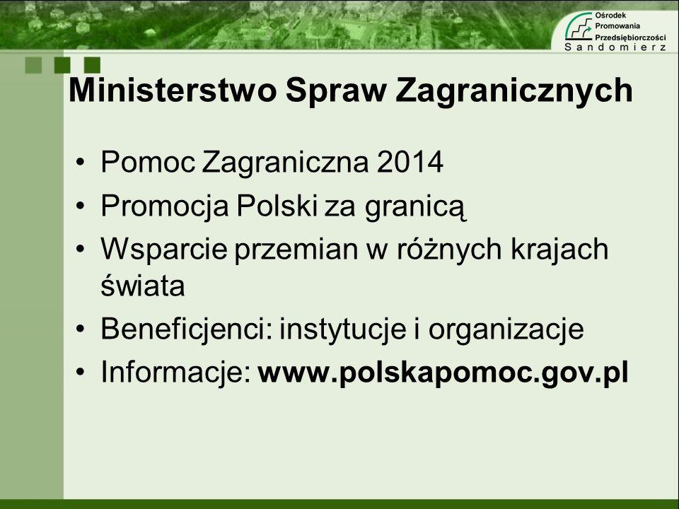 Ministerstwo Spraw Zagranicznych Pomoc Zagraniczna 2014 Promocja Polski za granicą Wsparcie przemian w różnych krajach świata Beneficjenci: instytucje
