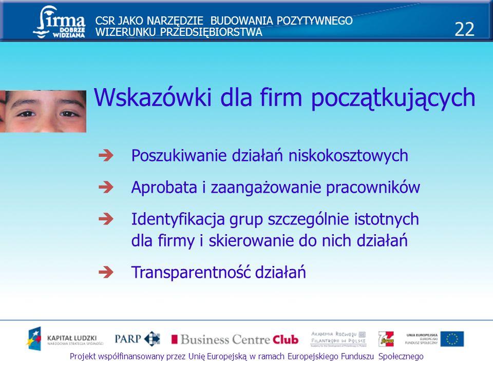 CSR JAKO NARZĘDZIE BUDOWANIA POZYTYWNEGO WIZERUNKU PRZEDSIĘBIORSTWA 22 Projekt współfinansowany przez Unię Europejską w ramach Europejskiego Funduszu