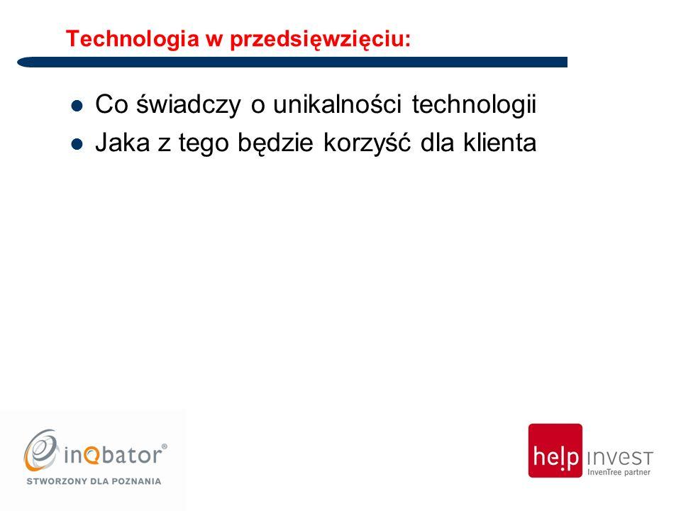 Technologia w przedsięwzięciu: Co świadczy o unikalności technologii Jaka z tego będzie korzyść dla klienta