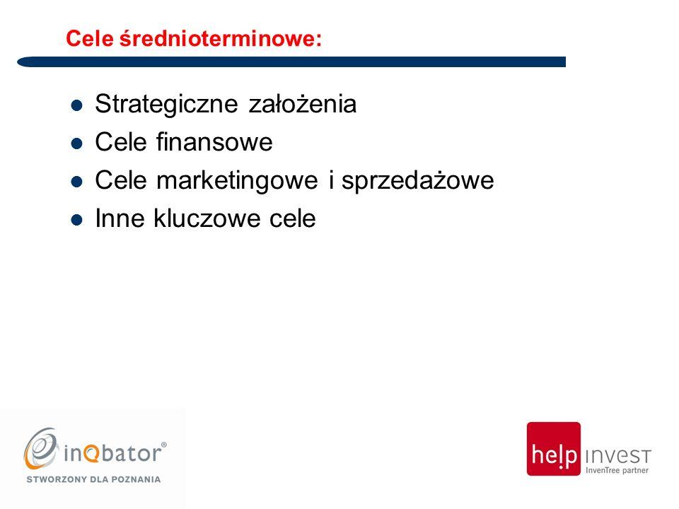 Cele średnioterminowe: Strategiczne założenia Cele finansowe Cele marketingowe i sprzedażowe Inne kluczowe cele