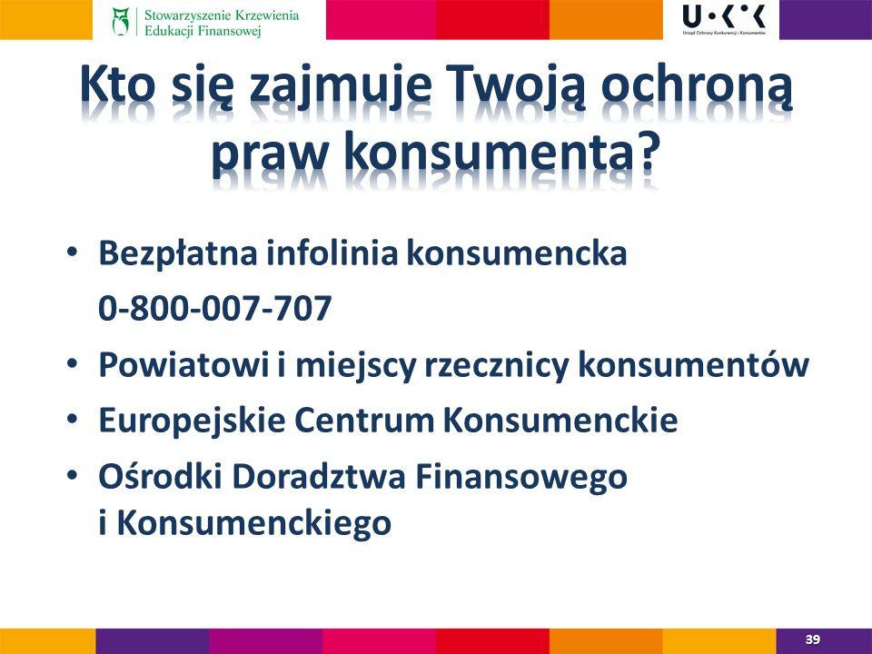 Bezpłatna infolinia konsumencka 0-800-007-707 Powiatowi i miejscy rzecznicy konsumentów Europejskie Centrum Konsumenckie Ośrodki Doradztwa Finansowego i Konsumenckiego 39