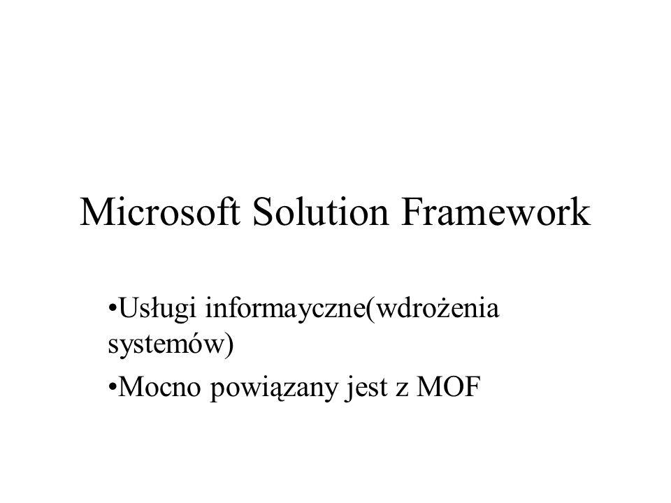 Microsoft Solution Framework Usługi informayczne(wdrożenia systemów) Mocno powiązany jest z MOF