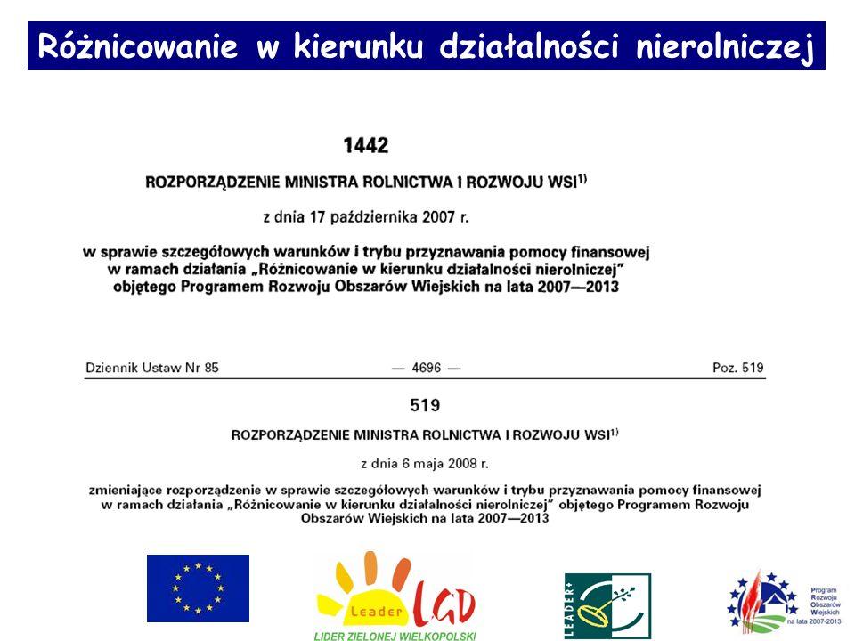 Lokalne kryteria oceny projektu Działanie PROW Lokalne kryteria oceny projektu Przyznana ocena Różnicowanie w kierunku działalności nierolniczej 1.