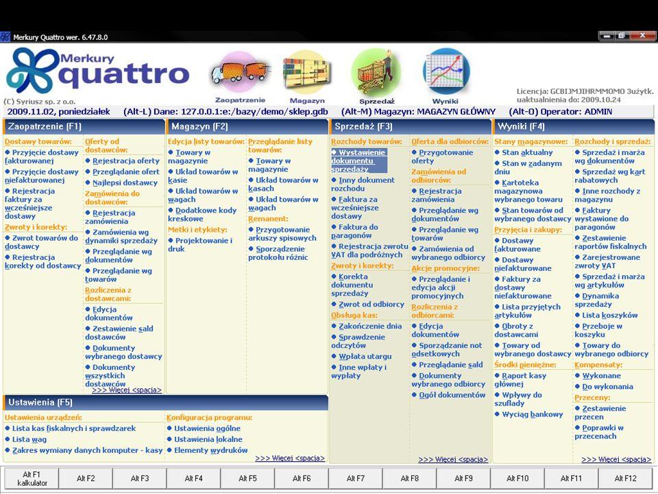 http://syriusz.eu merkury@syriusz.eu 24 Merkury Quattro Ewidencja sprzedaży Automatyczny odczyt danych z kas fiskalnych Możliwość generowania faktur do paragonów Faktury zbiorcze Ewidencja dokumentów rozchodu (faktury, WZ) Indywidualne systemy rabatowe (na poszczególne indeksy towarowe) dla każdego z odbiorców Kontrola terminów płatności i limitów zadłużeń Akcje promocyjne – automatyczne przeceny w zadanym dniu i godzinie Ewidencja zamówień od odbiorców, rezerwacje towaru, rejestracja zaliczek i ich rozliczanie Kontrola płatności – analiza sald i kwot przeterminowanych, monity, noty odsetkowe