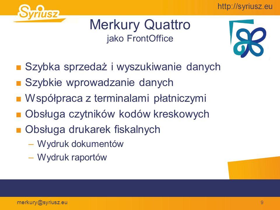 Merkury Quattro Przyjazny interfejs Nowoczesny interfejs nawiązujący do układu strony www