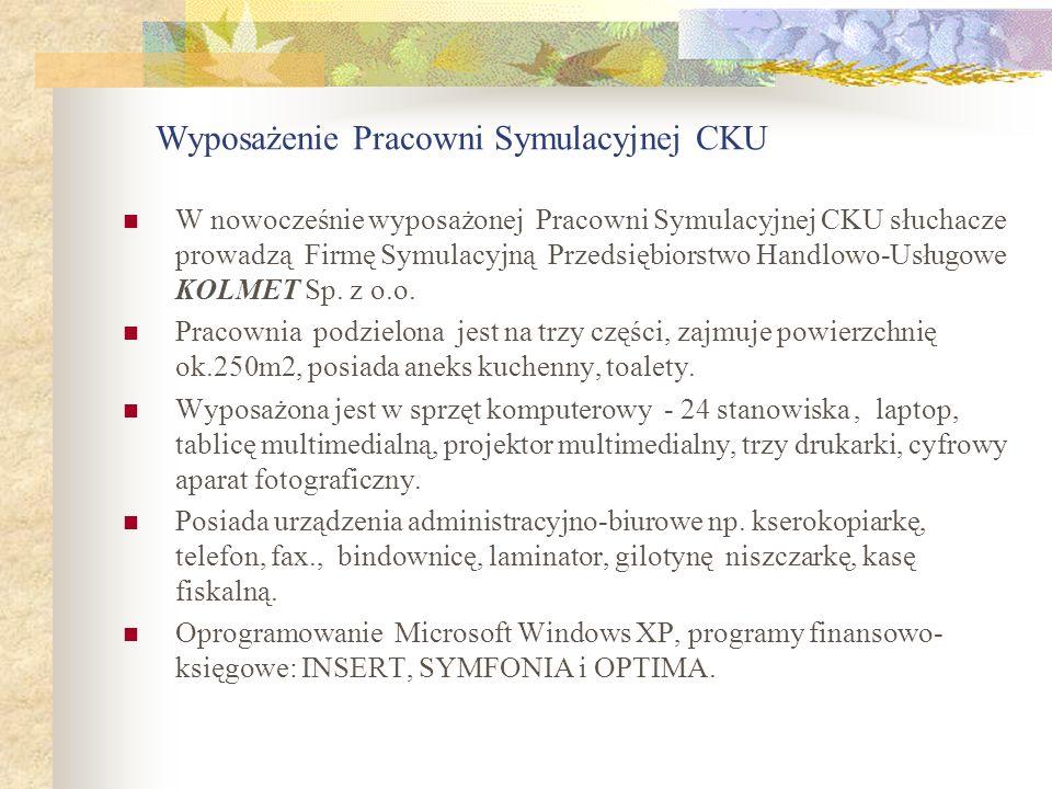 Wyposażenie Pracowni Symulacyjnej CKU W nowocześnie wyposażonej Pracowni Symulacyjnej CKU słuchacze prowadzą Firmę Symulacyjną Przedsiębiorstwo Handlo