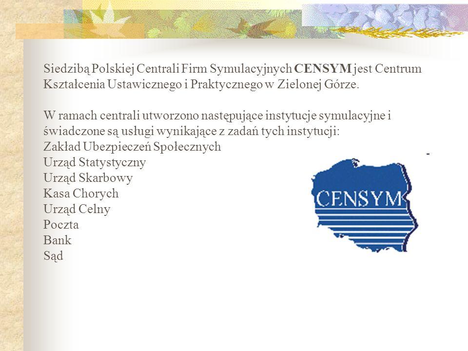 Siedzibą Polskiej Centrali Firm Symulacyjnych CENSYM jest Centrum Kształcenia Ustawicznego i Praktycznego w Zielonej Górze. W ramach centrali utworzon