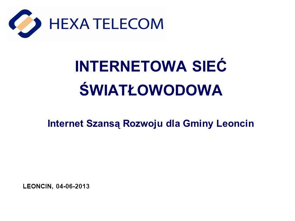 INTERNETOWA SIEĆ ŚWIATŁOWODOWA Internet Szansą Rozwoju dla Gminy Leoncin LEONCIN, 04-06-2013