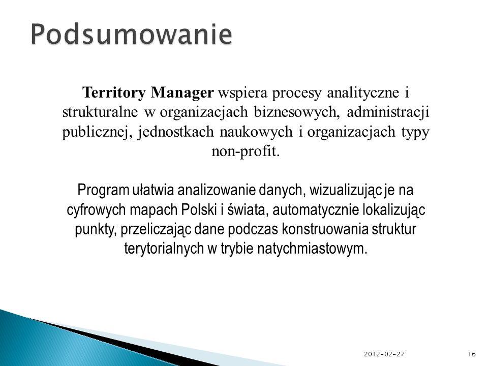 Territory Manager wspiera procesy analityczne i strukturalne w organizacjach biznesowych, administracji publicznej, jednostkach naukowych i organizacjach typy non-profit.