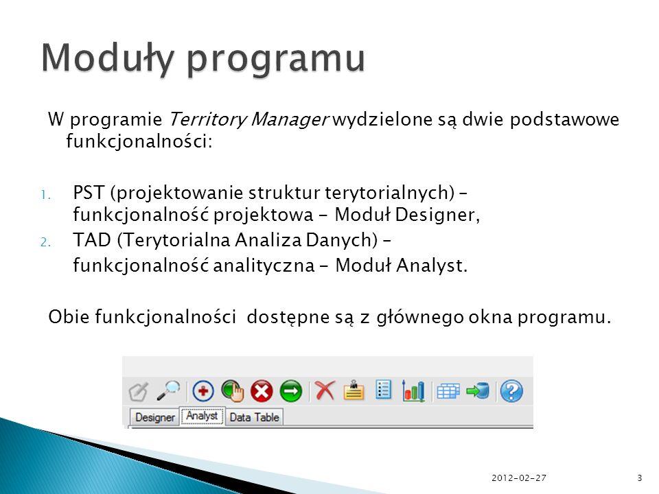 W module projektowym programu Territory Manager możliwe jest tworzenie i modyfikowanie struktur terytorialnych w oparciu o podstawowe jednostki geograficzne, takie jak gminy, powiaty czy inne wydzielone obszary.