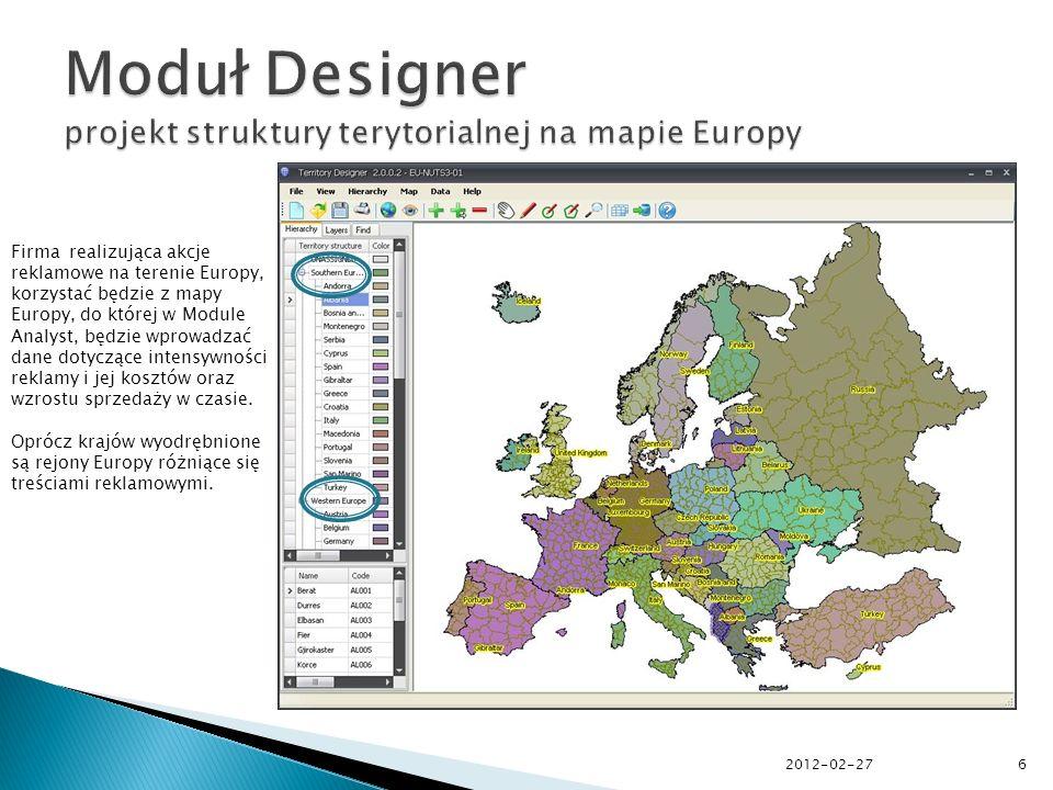 2012-02-276 Firma realizująca akcje reklamowe na terenie Europy, korzystać będzie z mapy Europy, do której w Module Analyst, będzie wprowadzać dane dotyczące intensywności reklamy i jej kosztów oraz wzrostu sprzedaży w czasie.