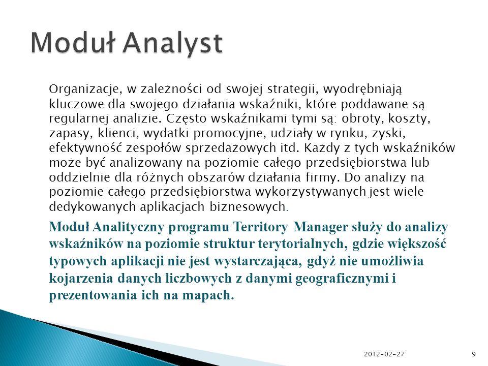 Moduł Analyst umożliwia: 1.wielowymiarową prezentację danych na mapach, 2.