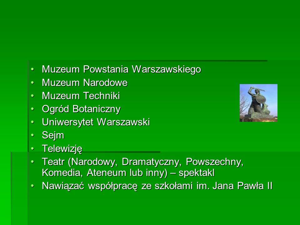 Muzeum Powstania WarszawskiegoMuzeum Powstania Warszawskiego Muzeum NarodoweMuzeum Narodowe Muzeum TechnikiMuzeum Techniki Ogród BotanicznyOgród Botan