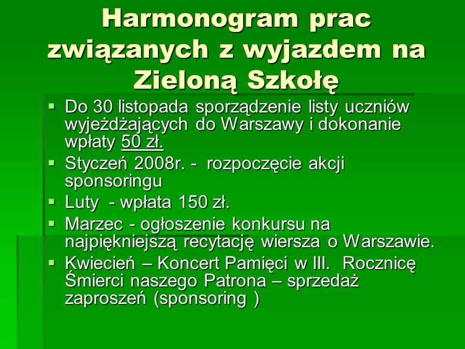 Harmonogram prac związanych z wyjazdem na Zieloną Szkołę Do 30 listopada sporządzenie listy uczniów wyjeżdżających do Warszawy i dokonanie wpłaty 50 z