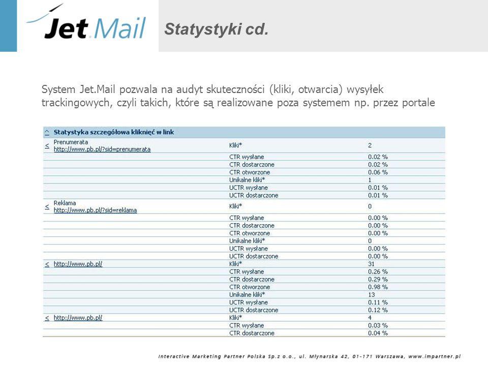 Statystyki cd. System Jet.Mail pozwala na audyt skuteczności (kliki, otwarcia) wysyłek trackingowych, czyli takich, które są realizowane poza systemem