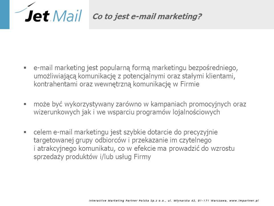 Zalety e-mail marketingu Efektywność kosztowa, zarówno w przygotowaniu materiałów, jak ich dystrybucji Szeroki zasięg: większość Internautów korzysta z poczty e-mail Szybkość i elastyczność: wysłany e-mail może zostać odebrany po kilku sekundach Interaktywność: możliwość pomiaru reakcji odbiorcy na mailing, dużo łatwiejsza niż w przypadku tradycyjnego mailingu Elementy marketingu wirusowego: możliwość przesłania e-maila do znajomych