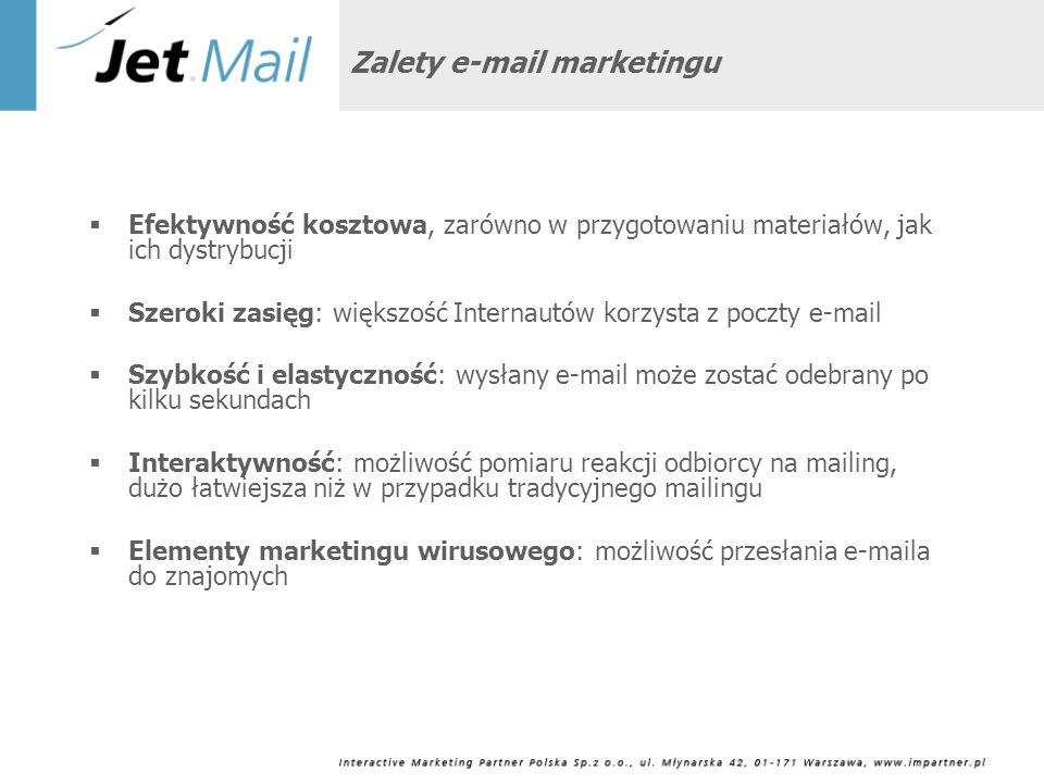 Zalety e-mail marketingu Efektywność kosztowa, zarówno w przygotowaniu materiałów, jak ich dystrybucji Szeroki zasięg: większość Internautów korzysta