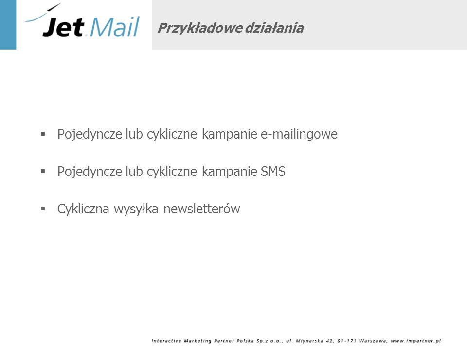 Autorskie i nowoczesne narzędzie jakim jest najbardziej zaawansowany system w polskim Internecie System dostępny bez instalacji na komputerze lokalnym Precyzyjne targetowanie po dowolnej ilości dostępnych atrybutów Możliwość personalizacji treści Rozbudowane statystyki pokazujące efektywność kampanii Łączenie w sobie funkcji SMS oraz e-mail Ogromne doświadczenie IMP w e-mail marketingu W samym 2007 roku obsłużyliśmy już ponad 68 milionów e-maili Dlaczego e-mail marketing z IMP?