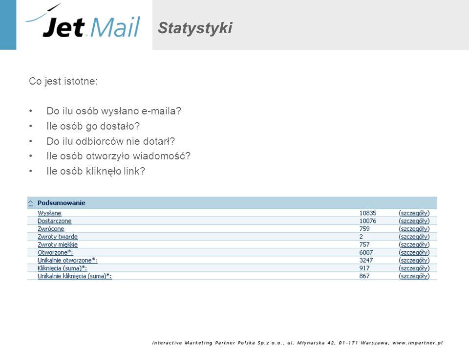 Statystyki Co jest istotne: Do ilu osób wysłano e-maila? Ile osób go dostało? Do ilu odbiorców nie dotarł? Ile osób otworzyło wiadomość? Ile osób klik