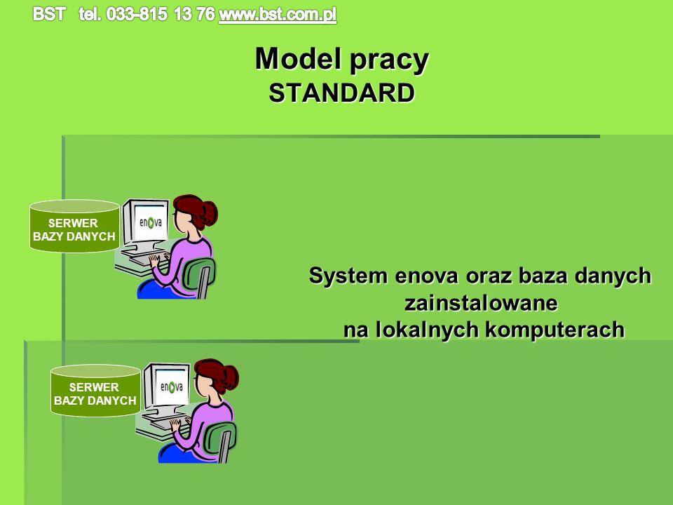 Model pracy STANDARD SERWER BAZY DANYCH SERWER BAZY DANYCH System enova oraz baza danych zainstalowane na lokalnych komputerach