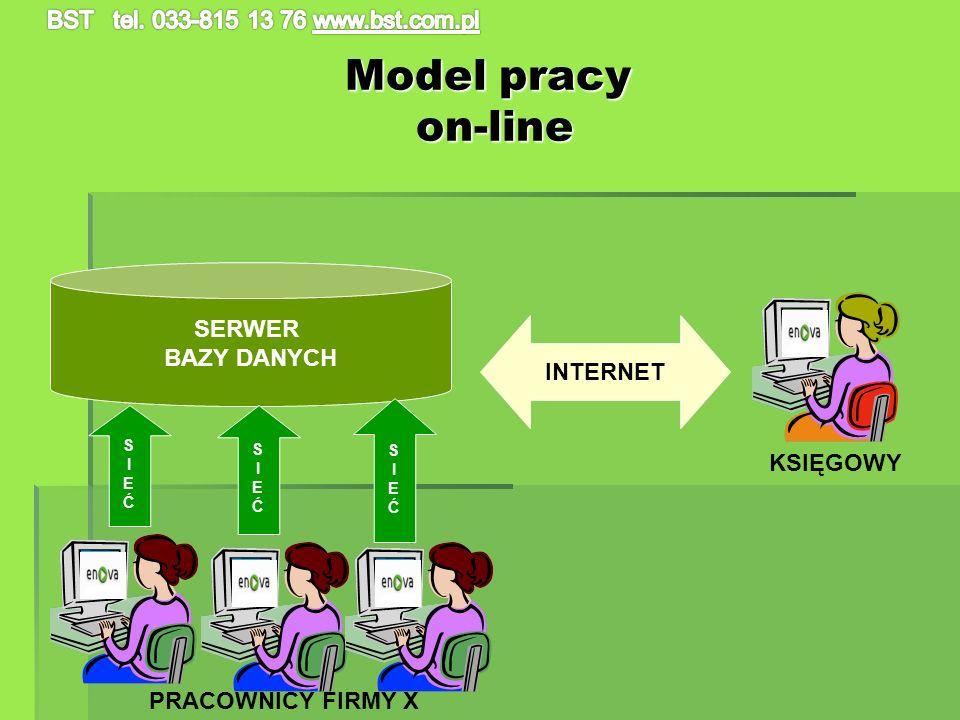 Model pracy on-line SERWER BAZY DANYCH SIEĆSIEĆ SIEĆSIEĆ SIEĆSIEĆ INTERNET KSIĘGOWY PRACOWNICY FIRMY X