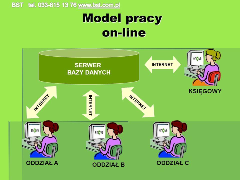 Model pracy on-line SERWER BAZY DANYCH KSIĘGOWY INTERNET ODDZIAŁ A ODDZIAŁ B ODDZIAŁ C INTERNET
