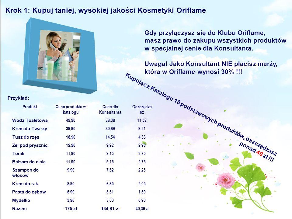 Krok 1: Kupuj taniej, wysokiej jakości Kosmetyki Oriflame Gdy przyłączysz się do Klubu Oriflame, masz prawo do zakupu wszystkich produktów w specjalne