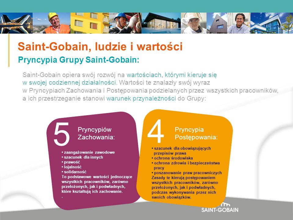 10 Saint-Gobain opiera swój rozwój na wartościach, którymi kieruje się w swojej codziennej działalności. Wartości te znalazły swój wyraz w Pryncypiach