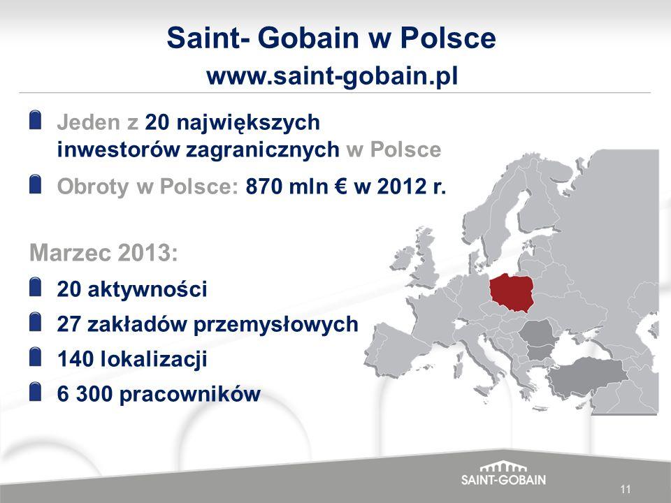 11 Saint- Gobain w Polsce www.saint-gobain.pl Jeden z 20 największych inwestorów zagranicznych w Polsce Obroty w Polsce: 870 mln w 2012 r. Marzec 2013