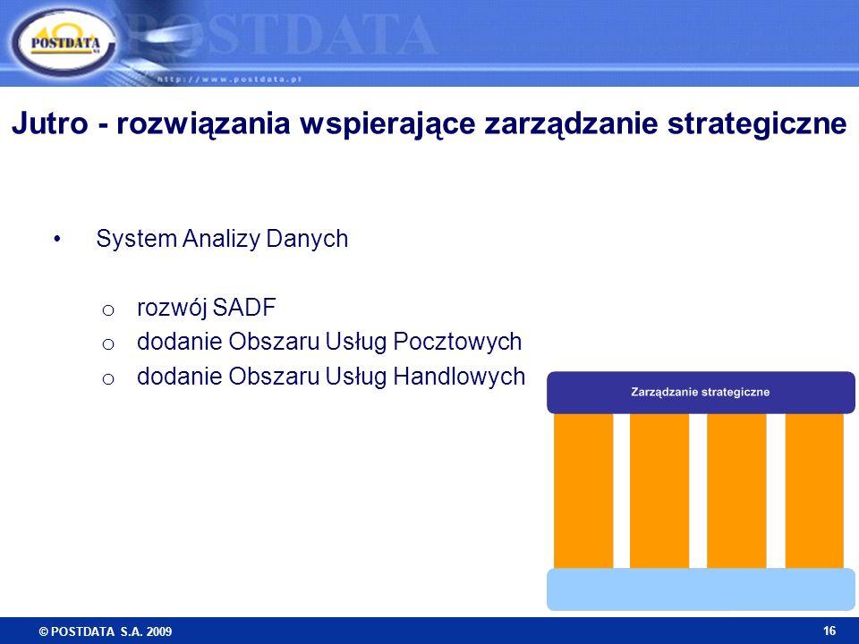 © POSTDATA S.A. 2009 16 System Analizy Danych o rozwój SADF o dodanie Obszaru Usług Pocztowych o dodanie Obszaru Usług Handlowych Jutro - rozwiązania