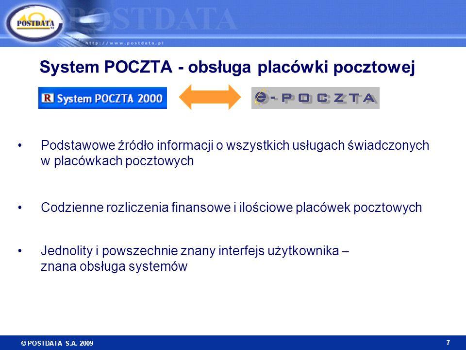 © POSTDATA S.A. 2009 7 Podstawowe źródło informacji o wszystkich usługach świadczonych w placówkach pocztowych Codzienne rozliczenia finansowe i ilośc