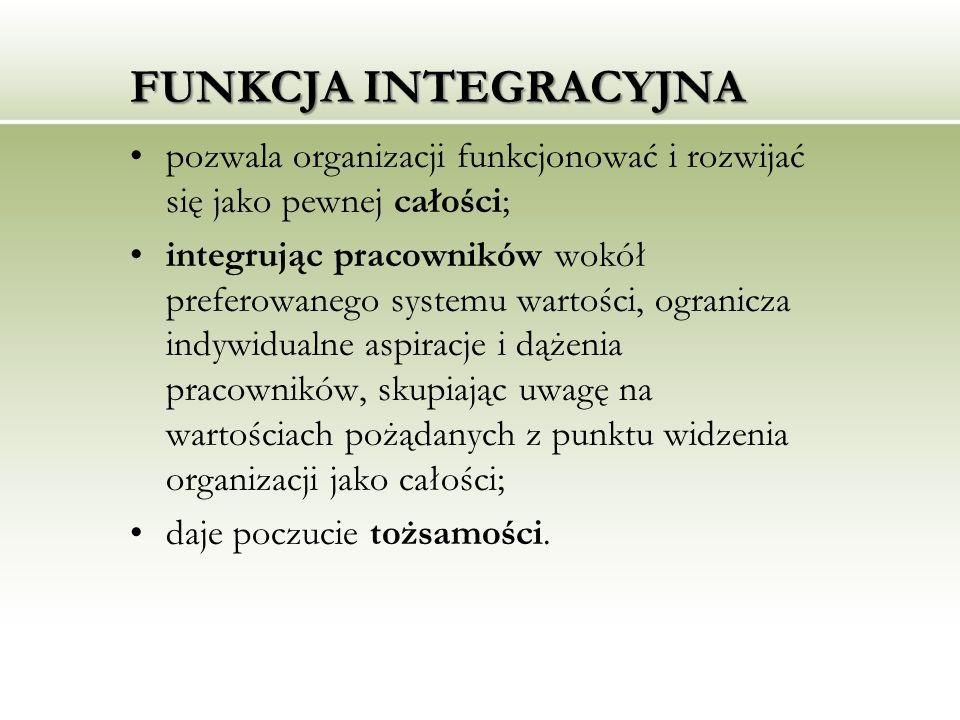 FUNKCJA INTEGRACYJNA pozwala organizacji funkcjonować i rozwijać się jako pewnej całości; integrując pracowników wokół preferowanego systemu wartości,