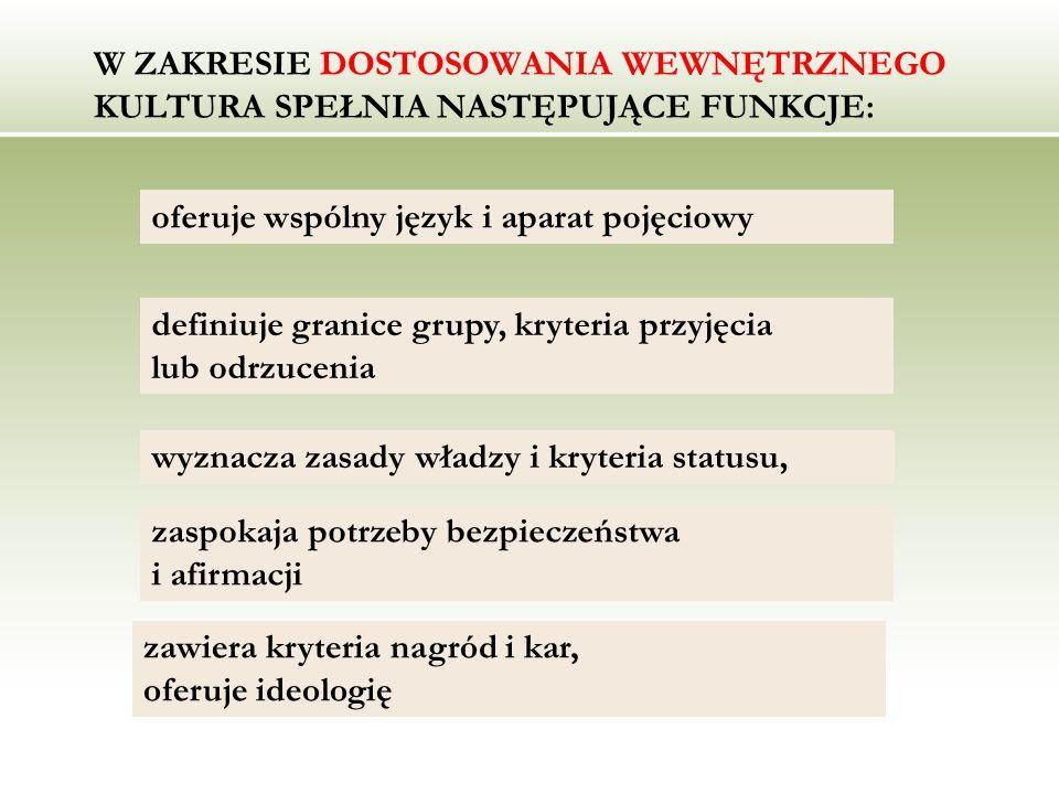 W ZAKRESIE DOSTOSOWANIA WEWNĘTRZNEGO KULTURA SPEŁNIA NASTĘPUJĄCE FUNKCJE: oferuje wspólny język i aparat pojęciowy definiuje granice grupy, kryteria p