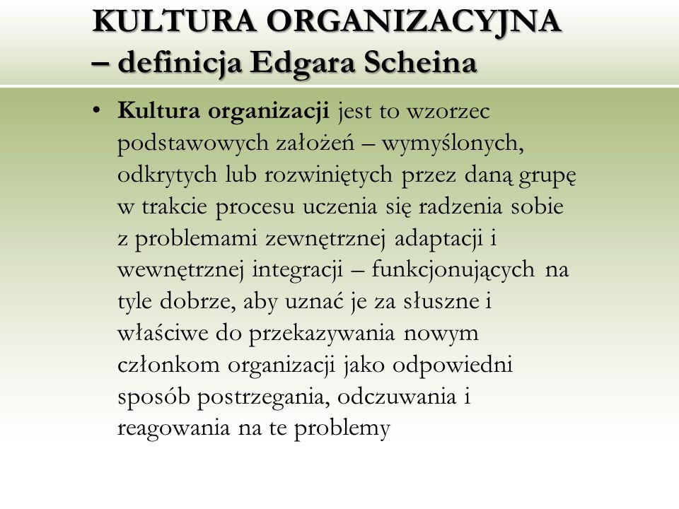 KULTURA ORGANIZACYJNA – definicja Edgara Scheina Kultura organizacji jest to wzorzec podstawowych założeń – wymyślonych, odkrytych lub rozwiniętych pr