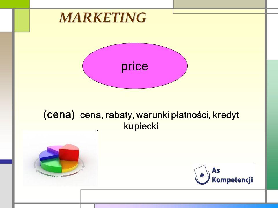 MARKETING price (cena) - cena, rabaty, warunki płatności, kredyt kupiecki